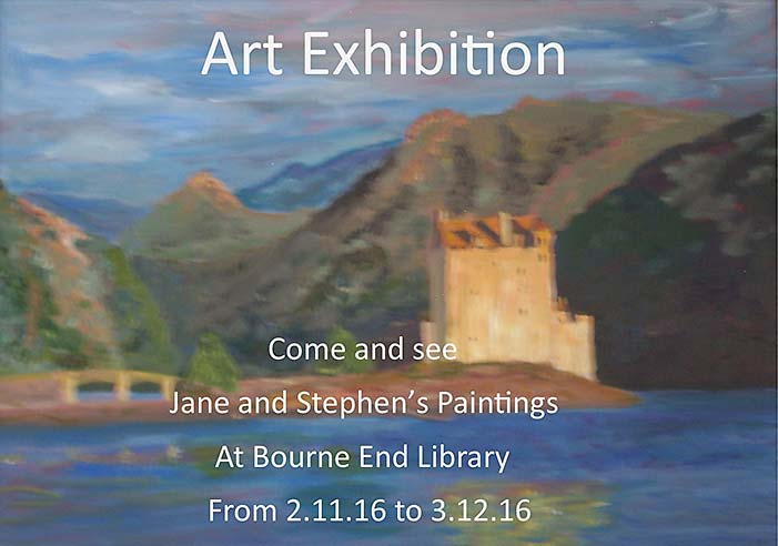 Flyer for J and S Pawlyn's Exhibition at Bourne End Library